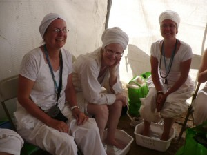 The foot soaking tent, with oils, lotions and face mists....ahhh...